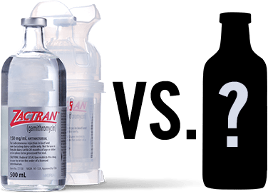 Zactran, a BRD prevention medication, versus the competition.